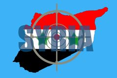 Overzichtskaart van Syrië met vlag en doelsymbool stock fotografie