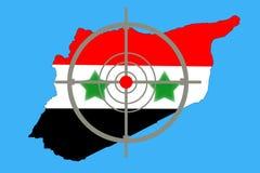 Overzichtskaart van Syrië met vlag en doelsymbool royalty-vrije stock foto's
