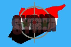 Overzichtskaart van Syrië met vlag en doelsymbool stock foto's