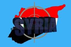 Overzichtskaart van Syrië met vlag en doelsymbool royalty-vrije stock afbeeldingen