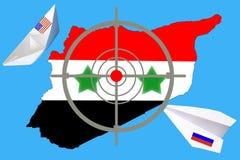 Overzichtskaart van Syrië met vlag en doelsymbool royalty-vrije stock foto