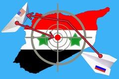 Overzichtskaart van Syrië met vlag en doelsymbool stock afbeelding