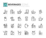 Overzichtspictogrammen over dranken Stock Fotografie