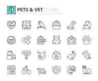 Overzichtspictogrammen over huisdieren en dierenarts Stock Afbeeldingen