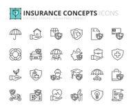 Overzichtspictogrammen over verzekeringsconcepten Royalty-vrije Stock Afbeeldingen