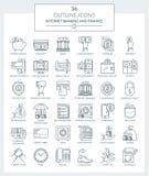 Overzichtspictogrammen van Bankwezen en Financiën Stock Illustratie