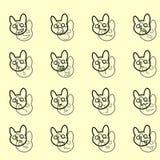 Overzichtsreeks van Emoticons-Pictogrammenvector Grappige banny gezichten vector illustratie