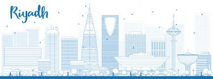 Overzichtsriyadh horizon met blauwe gebouwen Stock Foto's