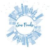 Overzichtssao Paulo Skyline met Blauwe Gebouwen en Exemplaarruimte Royalty-vrije Stock Afbeeldingen