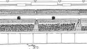 Overzichtstekening die van outfielder voor bal bij stadion lopen Royalty-vrije Stock Foto's
