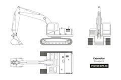 Overzichtstekening van graafwerktuig Hoogste, zij en vooraanzicht Diesel blauwdruk Hydraulische Machines Industrieel document vector illustratie