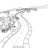 Overzichtstekening van Huis met Bomen stock illustratie