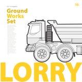 Overzichtstypografie met vrachtwagen wordt geplaatst die Geschetste vrachtwagen Het voertuig van bouwmachines Royalty-vrije Stock Foto's