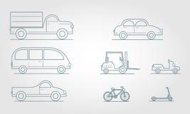 Overzichtsvervoer Moderne Vlakke de Symbolen Modieuze Retro van het Ontwerpvervoer royalty-vrije illustratie