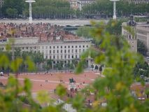 Overziend op Plaats Bellecour, Lyon Frankrijk royalty-vrije stock foto
