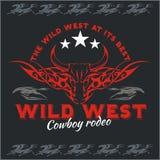 Ovest selvaggio - rodeo del cowboy Emblema di vettore illustrazione vettoriale