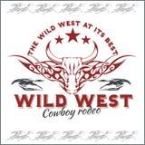 Ovest selvaggio - rodeo del cowboy Emblema di vettore illustrazione di stock