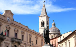 Ovid's statue in his birthplace, Sulmona, Italy. Bronze statue of the Roman poet Ovid, born at 20 March 43 BC, at Piazza XX Settembre in his birthplace Sulmona Stock Photo