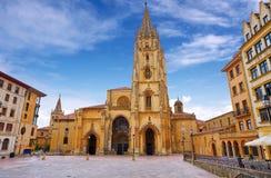 Oviedo Cathedral in Asturias Spain. Oviedo Cathedral in Asturias of Spain stock images