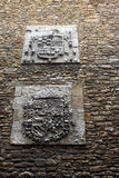 Oviedo coats of arms. Heraldry coats of arms on a stone wall in Oviedo, Asturias, Spain Stock Image