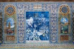 Oviedo-keramische Dekoration im Quadrat von Spanien Stockbilder