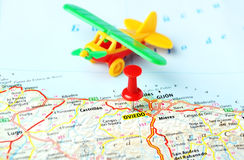 Oviedo ,Spain map airplane Stock Photo