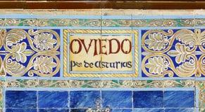 Oviedo written on azulejos Stock Photo
