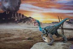 Oviraptor on jurassic land. Oviraptor with egg on Jurassic land at sunset vector illustration