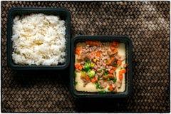 Ovo cozinhado do estilo japonês com carne de porco triturada e arroz cozinhado para foto de stock