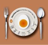 Ovo da galinha dos fatos da nutrição Foto de Stock