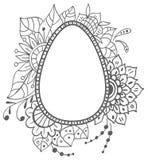 Ovo da garatuja da Páscoa com ornamento floral Imagem de Stock