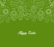 Ovo da páscoa branco abstrato no fundo verde Fotografia de Stock Royalty Free