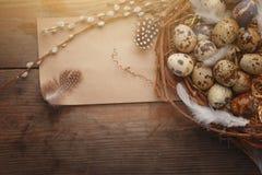 Ovo da páscoa colorido no ninho na placa de madeira escura imagem de stock royalty free