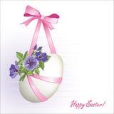 Ovo da páscoa com flores e ribbons4 Imagem de Stock Royalty Free