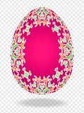 ovo da páscoa 3d vermelho vermelho com um teste padrão dos lírios e um lugar para o texto ou a imagem ilustração do vetor