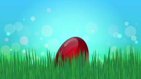 Ovo da páscoa de salto louco dos desenhos animados em uma grama verde ilustração do vetor