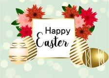 Ovo da páscoa feliz com flores, fita Molde feliz de easter com fita e ovos do ouro, ilustração stock