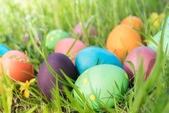 Ovo da páscoa! fundos coloridos felizes do conceito da Páscoa das decorações do feriado da caça do Domingo de Páscoa com espaço d Fotos de Stock