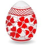 Ovo da páscoa pintado colorido vermelho branco Fotografia de Stock