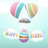Ovo da páscoa que salta de paraquedas de ovo quebrado ilustração royalty free
