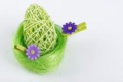 Ovo da páscoa verde no ninho verde com fundo cinzento Imagens de Stock Royalty Free