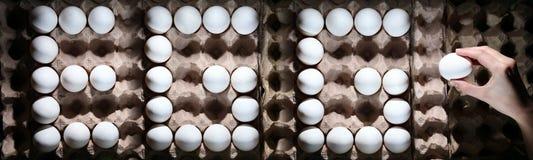 OVO da palavra dos ovos brancos imagem de stock