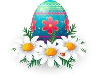 Ovo de Easter com margaridas e ladybug ilustração do vetor