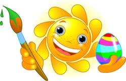 Ovo de Easter da coloração de Sun ilustração royalty free