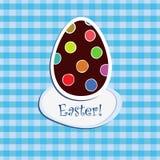 Ovo de Easter no backgr checkered azul Imagens de Stock Royalty Free