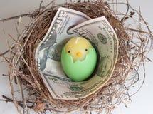 Ovo de ninho com dinheiro foto de stock