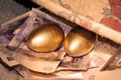 Ovo de ninho dourado Imagem de Stock