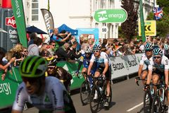 Ovo Energy Tour of Britian 1018. Ovo Energy Tour of Britain 2018 Leamington Spa - September 5th, 2018: Geraint Thomas rolling over the finish line of Stage 4 of royalty free stock images