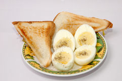 Ovo fervido com sanduíche Foto de Stock