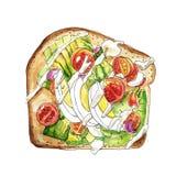 Ovo, queijo e ilustração vegetal do sanduíche watercolor Isolado no fundo branco ilustração do vetor